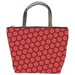 Red Passion Floral Pattern Bucket Bags Front