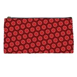 Red Passion Floral Pattern Pencil Cases Front