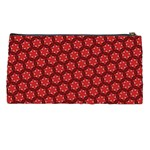 Red Passion Floral Pattern Pencil Cases Back