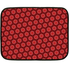 Red Passion Floral Pattern Double Sided Fleece Blanket (Mini)