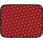 Red Passion Floral Pattern Double Sided Fleece Blanket (Mini)  35 x27 Blanket Back