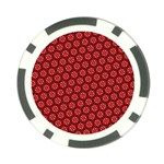 Red Passion Floral Pattern Poker Chip Card Guards (10 pack)  Back