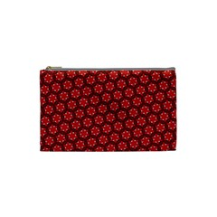Red Passion Floral Pattern Cosmetic Bag (small)