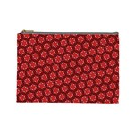 Red Passion Floral Pattern Cosmetic Bag (Large)  Front