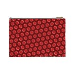 Red Passion Floral Pattern Cosmetic Bag (Large)  Back