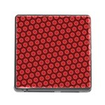 Red Passion Floral Pattern Memory Card Reader (Square) Front