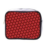 Red Passion Floral Pattern Mini Toiletries Bags Front