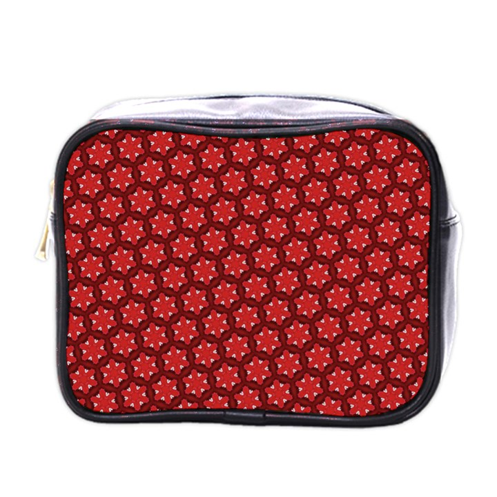 Red Passion Floral Pattern Mini Toiletries Bags