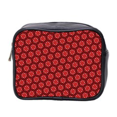 Red Passion Floral Pattern Mini Toiletries Bag 2 Side