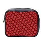 Red Passion Floral Pattern Mini Toiletries Bag 2-Side Front