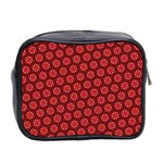 Red Passion Floral Pattern Mini Toiletries Bag 2-Side Back