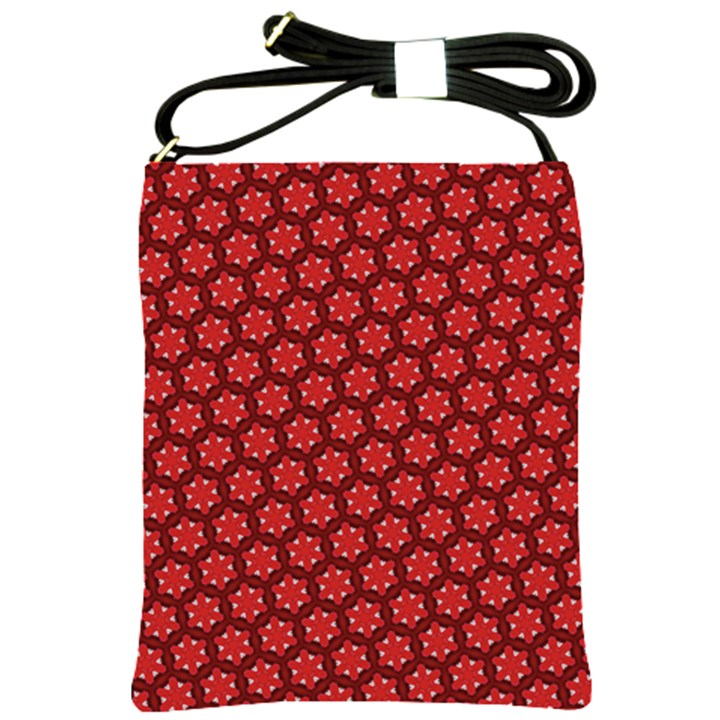 Red Passion Floral Pattern Shoulder Sling Bags