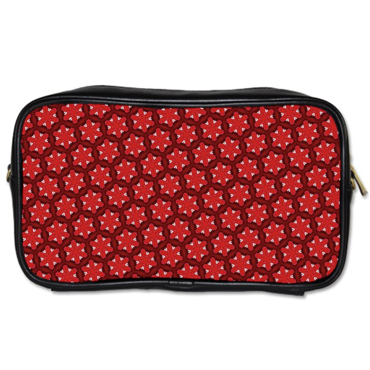 Red Passion Floral Pattern Toiletries Bags
