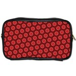 Red Passion Floral Pattern Toiletries Bags 2-Side Front