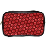 Red Passion Floral Pattern Toiletries Bags 2-Side Back