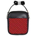 Red Passion Floral Pattern Girls Sling Bags Front