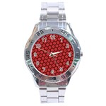Red Passion Floral Pattern Stainless Steel Analogue Watch Front