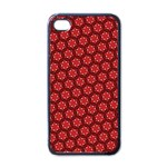 Red Passion Floral Pattern Apple iPhone 4 Case (Black) Front