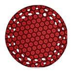 Red Passion Floral Pattern Round Filigree Ornament (2Side) Back