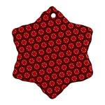 Red Passion Floral Pattern Snowflake Ornament (2-Side) Front