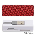 Red Passion Floral Pattern Memory Card Reader (Stick)  Front
