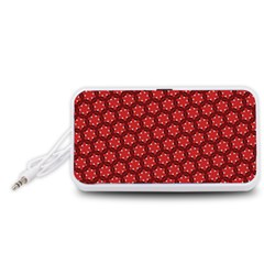 Red Passion Floral Pattern Portable Speaker (White)