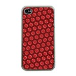 Red Passion Floral Pattern Apple iPhone 4 Case (Clear) Front