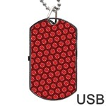 Red Passion Floral Pattern Dog Tag USB Flash (One Side) Front