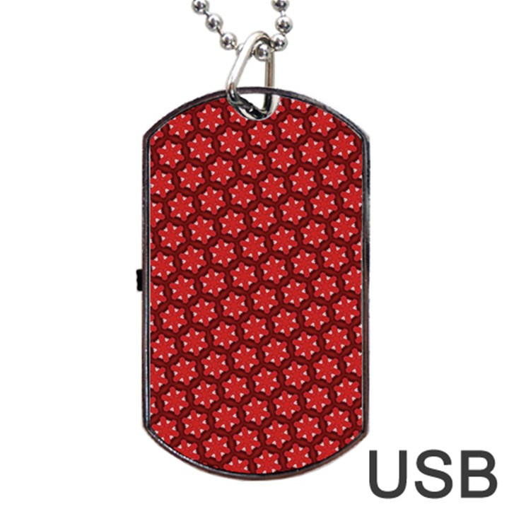 Red Passion Floral Pattern Dog Tag USB Flash (Two Sides)