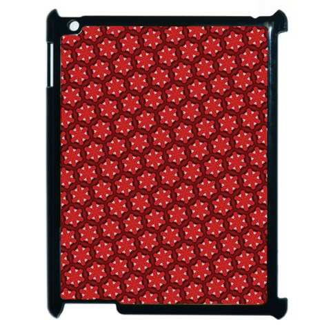 Red Passion Floral Pattern Apple iPad 2 Case (Black)