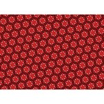 Red Passion Floral Pattern I Love You 3D Greeting Card (7x5) Back