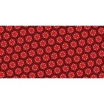 Red Passion Floral Pattern Best Wish 3D Greeting Card (8x4) Back