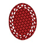 Red Passion Floral Pattern Oval Filigree Ornament (2-Side)  Front