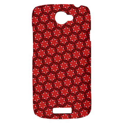 Red Passion Floral Pattern HTC One S Hardshell Case