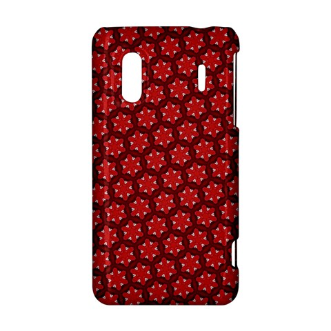 Red Passion Floral Pattern HTC Evo Design 4G/ Hero S Hardshell Case