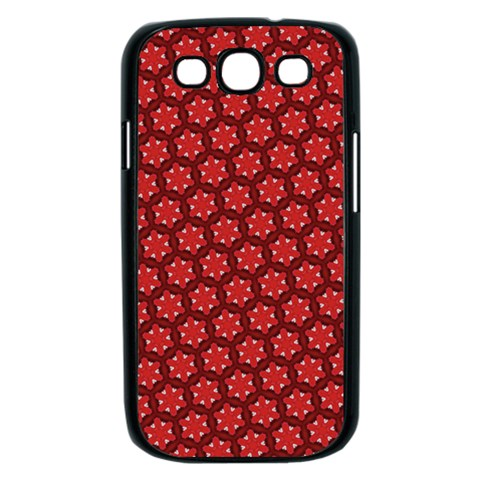 Red Passion Floral Pattern Samsung Galaxy S III Case (Black)