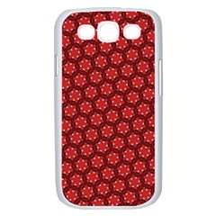 Red Passion Floral Pattern Samsung Galaxy S III Case (White)