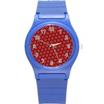 Red Passion Floral Pattern Round Plastic Sport Watch (S) Front