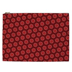 Red Passion Floral Pattern Cosmetic Bag (xxl)