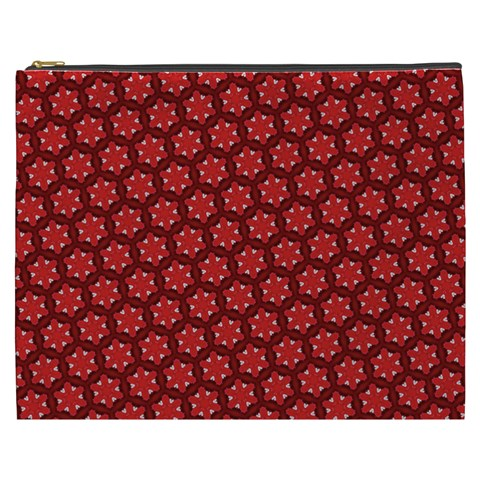 Red Passion Floral Pattern Cosmetic Bag (XXXL)