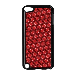 Red Passion Floral Pattern Apple iPod Touch 5 Case (Black)