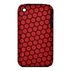 Red Passion Floral Pattern Apple iPhone 3G/3GS Hardshell Case (PC+Silicone)