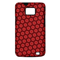 Red Passion Floral Pattern Samsung Galaxy S II i9100 Hardshell Case (PC+Silicone)