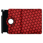Red Passion Floral Pattern Apple iPad 2 Flip 360 Case Front