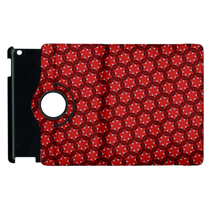 Red Passion Floral Pattern Apple iPad 2 Flip 360 Case