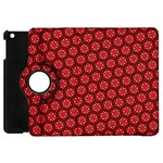 Red Passion Floral Pattern Apple iPad Mini Flip 360 Case Front