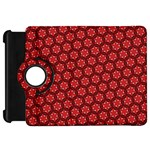 Red Passion Floral Pattern Kindle Fire HD Flip 360 Case Front