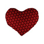 Red Passion Floral Pattern Standard 16  Premium Heart Shape Cushions Back