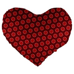 Red Passion Floral Pattern Large 19  Premium Heart Shape Cushions