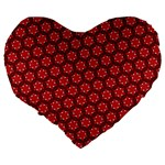 Red Passion Floral Pattern Large 19  Premium Heart Shape Cushions Back